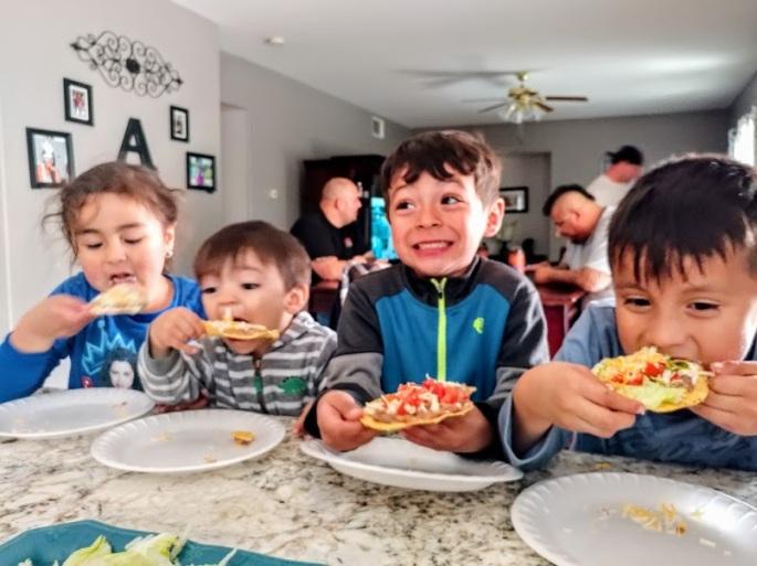 Kids Eating Tostadas
